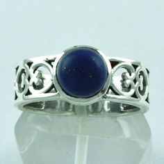 925 STERLING SILVER PATTERN DESIGN RING LAPIS LAZULI JEWELRY S.7 US R2099 #SilvexImagesIndiaPvtLtd #Band