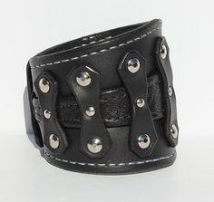 Black Leather Cuff Bracelet Mens Wristband by TaurusSeats