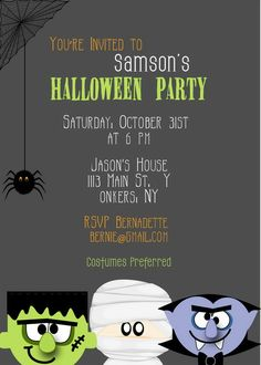 Spooky Monsters Halloween Party Invitations by AnnounceItFavors Halloween Invitations Kids, Halloween Party Decor, Halloween Fun, Halloween Recipe, Halloween Invitaciones, Digital Invitations, Holiday Parties, Leasing Office, Party Ideas