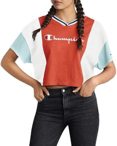 Champion Color-Block Cropped Tee Tee Online, Crop Tee, Online Shopping Stores, Color Blocking, Kids Outfits, Champion, Tees, How To Wear, Clothes