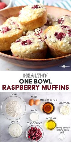 These one bowl healthy raspberry muffins are packed with juicy berries, made with tangy yogurt and heart-healthy olive oil, and are refined sugar-free. Baby Food Recipes, Low Carb Recipes, Baking Recipes, Snack Recipes, Protein Recipes, Dinner Recipes, Protein Packed Snacks, Protein Packed Breakfast, Yogurt Recipes