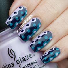 Wavy retro dots nail art design in black, teal blue & lavender - tutorial at link (using tape & craft scissors)