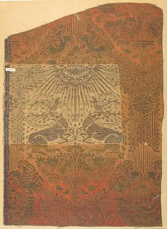 Date: century Geography: Made in Lucca, Italy Culture: Italian Medium: Silk, gold thread Dimensions: Overall (actual textile): 6 × 9 in. × cm) Overall (including reconstruction): 18 × 13 in. × cm) Storage (mat): 27 × 20 in. Medieval Clothing, Medieval Art, Textile Patterns, Textile Design, 14th Century Clothing, Italy Culture, Century Textiles, Renaissance Era, Clothing And Textile