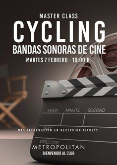 El próximo martes, 7 de febrero a las 10:00 h., realizaremos una Master Class de Cycling especial Bandas Sonoras. ¡Te esperamos! Más información en Recepción de Metropolitan Sagrada Familia.