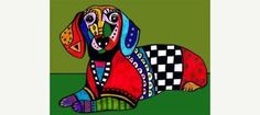 Dachshund Art - Miniature Dachshund art dog Poster Print of painting by Heather Galler (HG332)