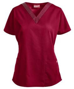 Butter-Soft Scrubs by UA™ Rhinestone V-Neck Top You will feel like a star in this sparkling scrub top! Exclusive to our Butter-Soft collection, this top features a rhinestone applique on the v-neckline. Red Scrubs, Uniform Advantage, Nursing Clothes, Rhinestone Appliques, Medical Scrubs, Scrub Tops, Shades Of Red, V Neck Tops, Butter