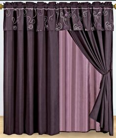 """1 Pair of Covinton Purple Window curtain set including 2 panels 60x84"""" each by sheetsnthings. $32.99. Easy Care- Machine Washable. Each curtain set include 2 panel and 2 tie back.. Fabric content 100 % polyester. Sheer backing and valance are attach to the curtain.. Each panel size: 60-inch x 84-inch in inch. 18-inch valance drop.. Window treatments add refinement and style to otherwise dull, boring windows. Shutters and awnings decorate the outside of your ho..."""