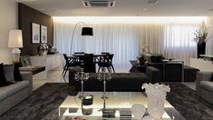 Salas de estar, jantar e tv integradas e decoradas de preto, branco e cinza…