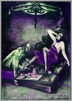 The opium smoker. Art Deco fashion 1921.                                                                                                                                                                                 More