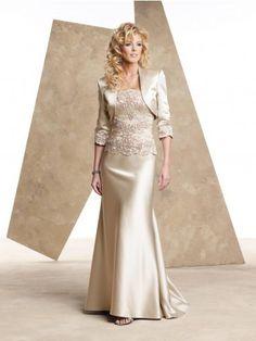 Personalizado Elegante Mulheres Longo Mãe dos Vestidos de Noiva com Jaqueta de Renda Apliques Sexy Champagne Vestidos de Mãe para Casamentos