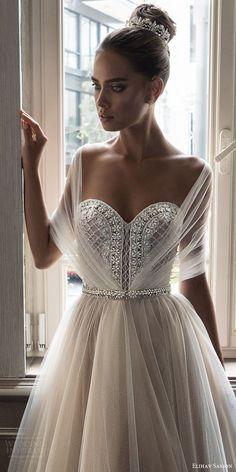 elihav sasson spring 2018 bridal illusion half sleeves sweetheart beaded bodice ball gown wedding dress (vj 006) zv train princess romantic -- Elihav Sasson 2018 Wedding Dresses