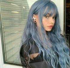 Hair Color Purple, Hair Dye Colors, Cool Hair Color, Lilac Hair, Pastel Hair, Green Hair, Silvery Blue Hair, Light Hair Colors, Smokey Blue Hair