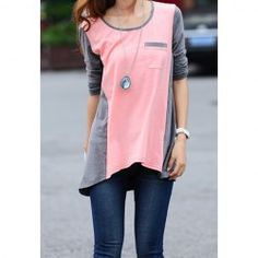 Scoop Neck Colormatching Long Sleeved T-Shirt For Women (PINK,L) | Sammydress.com