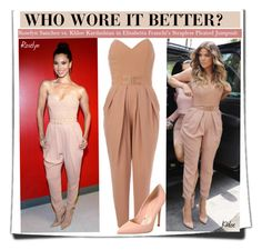 """""""Who Wore It Better?Roselyn Sanchez vs. Khloe Kardashian in Elisabetta Franchi's Strapless Pleated Jumpsuit"""" by kusja ❤ liked on Polyvore featuring Elisabetta Franchi, Gianvito Rossi, women's clothing, women, female, woman, misses, juniors, WhoWoreItBetter and celebstyle"""