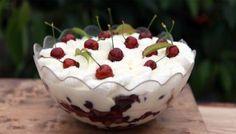 Mary Berry's tipsy trifle recipe - BBC Food Cherry Trifle Recipes, Trifle Desserts, Cherry Compote, Cherry Brandy, James Martin, Mary Berry, Vanilla Cream, Non Stick Pan, Chocolate Cherry