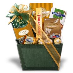 Chocolate Fantasy      Why fantasize about chocolate when you can have it all in this wonderful Green Crocodile Woven Gift Basket. Enjoy a bite of Ghirardelli's Milk Chocolate Square with Carmel- or Dark Chocolate with Mint. This basket is perfect for that Gourmet Chocolate eater.  $44.99