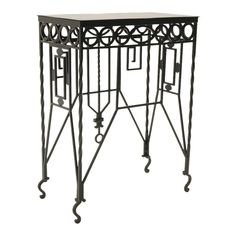 For Sale on - Beautifully crafted Mission / Arts & Crafts wrought iron table. About 33 inches tall. Can be used indoors or outdoors. We have had it expertly media blasted Wrought Iron Console Table, Wrought Iron Chairs, Iron Table, Table Furniture, Garden Furniture, Tile Top Tables, Craft Iron, Serving Table, Italian Art