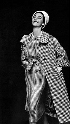 1957 Kouka Denis in gray and white houndstooth dress worn under matching coat by Maggy Rouff