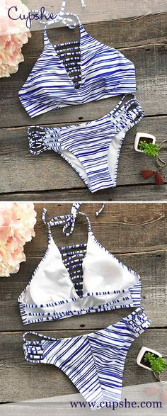 Bath in the breeze! $21.99 Only with free shipping&easy return! This striped set is detailed with high leg cut&halter design! These sets are basically required summer clothing. Find it at Cupshe.com