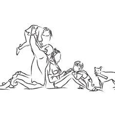 Custom Family Photo Digital Artwork Line Sketch Style Family Sketch, Family Drawing, Baby Drawing, Present Drawing, Dog Line Art, Line Sketch, Simple Line Drawings, Aesthetic Drawing, Mom Tattoos