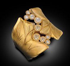 Broken Leaf by Rosario Garcia. 18k yellow gold ring & diamonds.