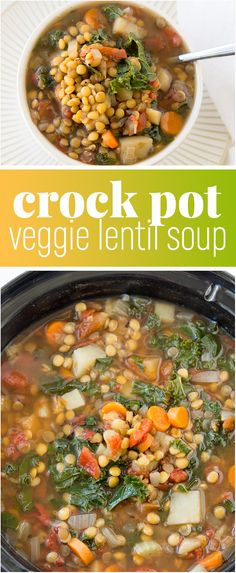 Crock Pot Vegetable Lentil Soup Recipe - This warm and comforting veggie lentil soup is vegan, delicious, and so easy to prepare using your slow cooker. This is a fantastic plant-based meal that will warm your belly and leave you feeling satisfied. Veggie Lentil Soup, Lentil Soup Recipes, Slow Cooker Lentil Soup, Lentil Soup Recipe Crock Pot, Lentils Crockpot Recipes, Healthy Lentil Soup, Crock Pot Soup Recipes, Easy Veggie Soup, Vegetarian Recipes Lentils
