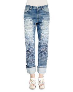 Slashed Embroidered Slim-Leg Jeans, Medium Vintage Wash by Alexander McQueen at Neiman Marcus.
