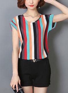8eff281180 Blusas Listra Informal de Em torno do pescoço Manga curta Vestido Chique