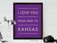 I Love You From Here To KANSAS art print