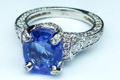 Blue sapphire vintage graduated pave diamond engagement circa cartier 1920 Paris