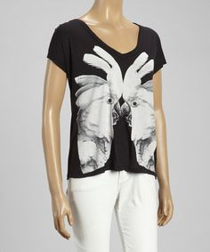 Another great find on #zulily! Black & White Parrot Short-Sleeve Tee by press #zulilyfinds