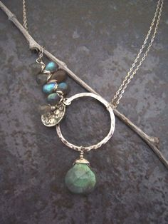 Asymmetrical Labradorite Necklace with Sterling Silver, Artisan Gemstone Jewelry