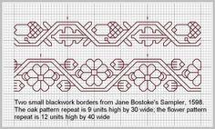 Jane Bostoke Oak and Flower Blackwork Borders by sue tortoise, via Flickr