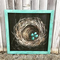 Bless this Nest, Nest painting on window screen with a teal frame Simple Acrylic Paintings, Using Acrylic Paint, Abstract Paintings, Painting On Glass Windows, Painting On Screens, Window Paint, Window Screens, Screen Doors, Window Frames