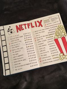 Netflix spread Double spread of your Netflix wish list for t.-Netflix spread Double spread of your Netflix wish list for the bullet journal! Netflix spread Double spread of your Netflix wish list for the bullet journal! Bullet Journal School, Bullet Journal Netflix, Bullet Journal Cleaning Schedule, Bullet Journal Notebook, Bullet Journal Inspo, Bullet Journal Spread, Bullet Journal Films, Bullet Journal Wish List, Bullet Journal Ideas How To Start A