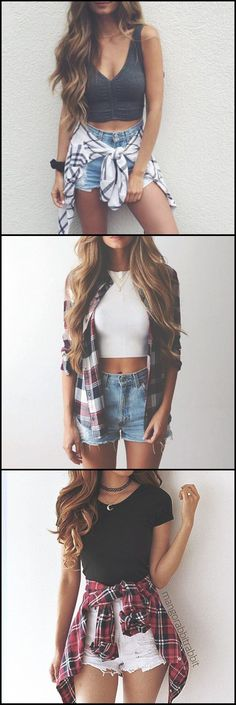 Cute Outfits Cute Casual Summer Outfit Ideas for Teens 2017 Flannel Plaid High Waited Denim Shorts Crop Top Tumblr