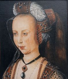 Mary of Burgundy (1457-1482) - Workshop of the Magdalen Legend 15th C https://hemmahoshilde.wordpress.com/2015/07/05/mary-of-burgundy-a-padded-roll-model/ <--- you're welcome to read more about Mary of Burgundy on my blog :).