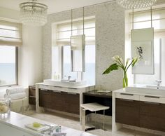 Great solution for a vanity in front of a window. Kara Mann Design
