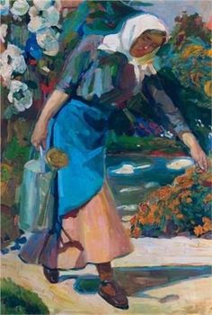 In the garden Artist: Nikolaos Lytras Style: Expressionism Genre: genre painting Art And Illustration, Illustrations, Artist Painting, Figure Painting, Greek Paintings, Greek Art, Art Database, Conceptual Art, Art World