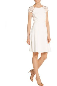 Ivory stretch-cady and tulle Concealed hook and zip fastening at back Fabric1: 95% polyester, 5% spandex; fabric2: 100% nylon; lining: 97% polyester, 3% spandex Dry clean