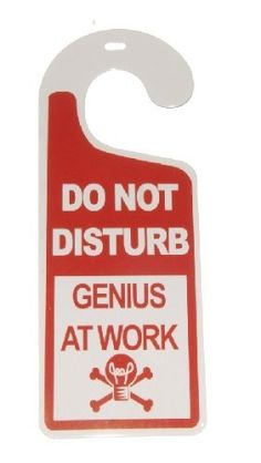 Do Not Disturb...Genius At Work Tin Door Knob Hanger for Bedroom, Dorm, Lab by Sign of the Times. $3.95. Fun, novelty metal/tin Do Not Disturb...Genius At Work, door hanger.  You can hang this door hanger on your bedroom, dorm, basement doors or lockers letting people know that you are working or sleeping, sometimes you do your best work napping.  Will also make a great gift!