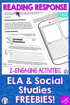 Free reading response activities that are engaging and rigorous! If you're looking for challenging reading activities for your 5th, 6th, 7th, or 8th grade classrooms, look no further. The 2-FREE reading response worksheets are versatile and work for both ELA and social studies. Upper elementary and middle school teachers will find these no-prep printables easy to implement. Tips for use are included. Just print and go! #reading #readingactivities