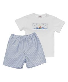 Love this White Sailing Smocked Tee & Blue Shorts - Infant, Toddler & Boys on #zulily! #zulilyfinds