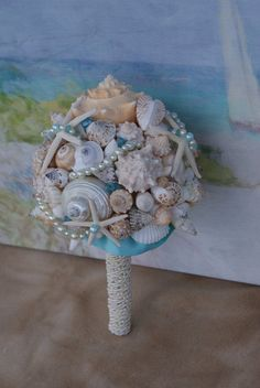 6 Piece Package Seashell Bouquet  Davids by SlyCreationsBouquets, $250.00