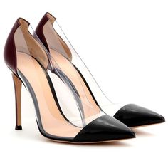 Gianvito Rossi Patent-Leather and Transparent Pumps ($560) ❤ liked on Polyvore featuring shoes, pumps, heels, scarpin, calçados, black, black pumps, kohl shoes, black heel pumps and black patent leather pumps