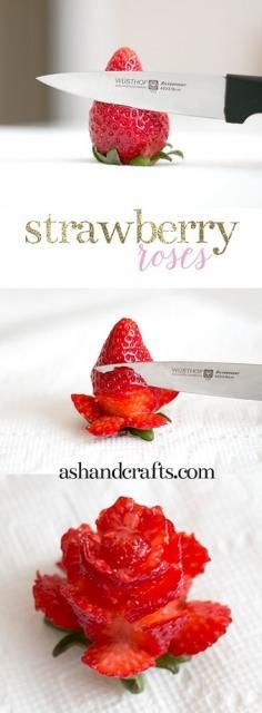 Pridávam postup na jednoduchú výrobu ruže z jahody aj s autorkou