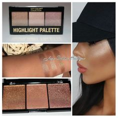 City color highlight Pallet features three stunning highlight shades in one convenient palette. With a silky formulation, one swipe will get you hooked! Great for every day glow and combining shades to create a custom highlight. This product is one of our most popular. The pigment is incredibly amazing you will be stunned. This is one of our favorites and we know it will be yours too.   #citycolor #highlightpallet #threeshades #shoptoday #checkoutwebsite  #highlight #highlightglow