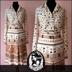 Vintage 1960 Twiggy Beige Aztec Tribal Printed Scooter MOD Shirtfront Dress UK18