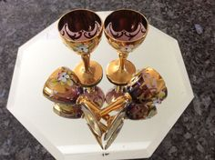 Bohemian Amethyst Glass Hand Painted Floral Cordial Set Lots of gold gilt-venetian style sipping glasses-martini cocktail glasses by VintageTreasuresRus on Etsy