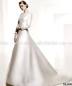 New Arrival Long Sleeve High Neckline Satin A-line Wedding Dress $229.00